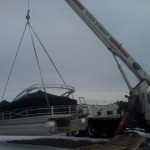 Hoisting Pontoon Boat